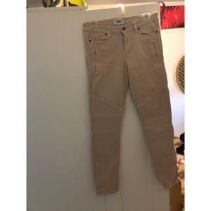 Paige jeans Cassidy zip light beige size 29